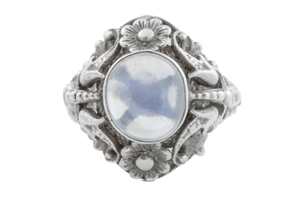 Moonstone Arts and Crafts Era Ring