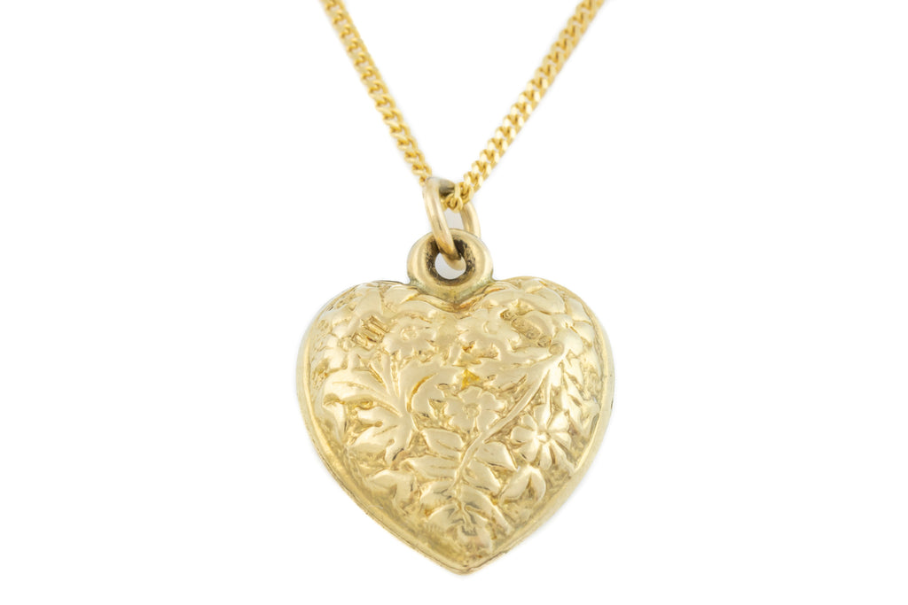 "Vintage 9ct Gold Heart Charm Pendant, with 16"" Chain"