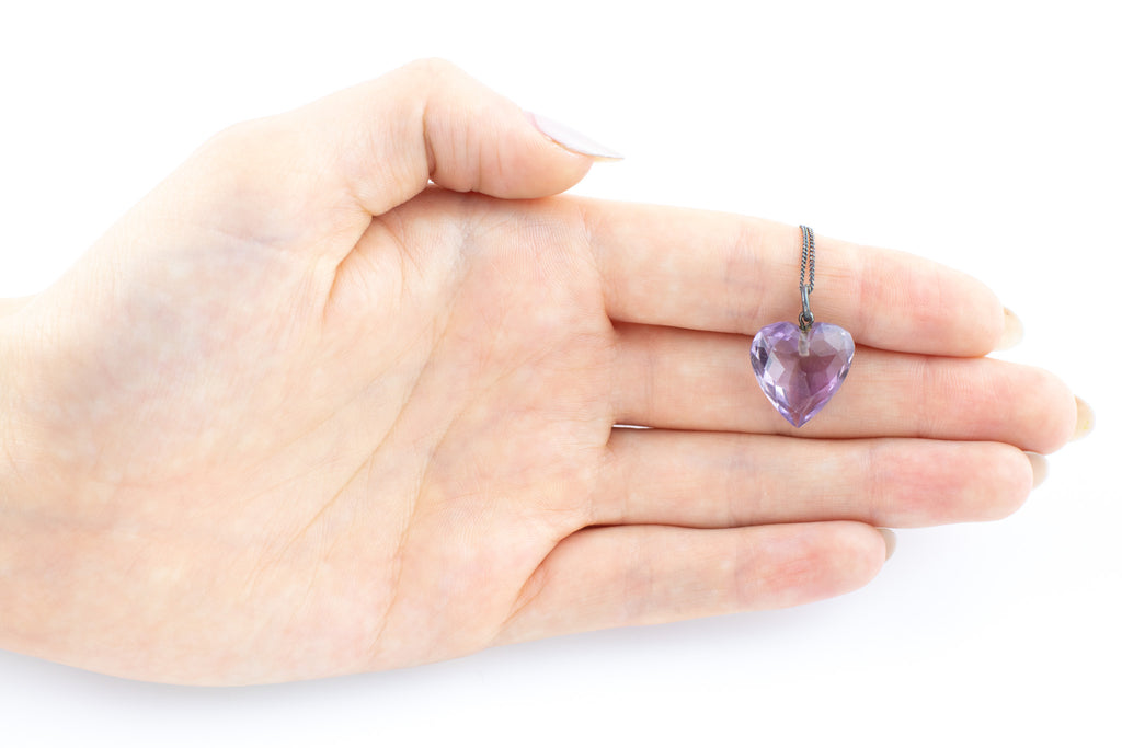 "Victorian Amethyst Heart Charm Pendant, with 16"" Chain"