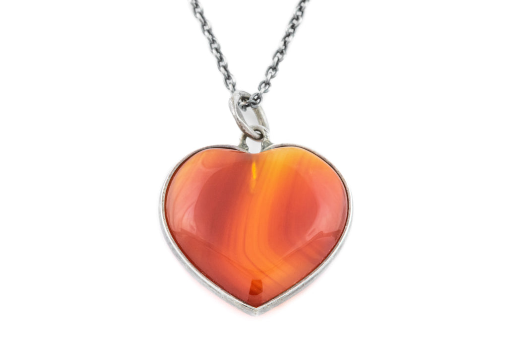 Antique Agate Heart Charm Pendant with Chain