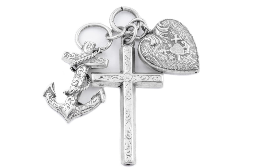 Antique Silver Faith Hope and Love Charm Pendant