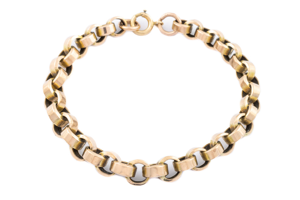 Antique 9ct Gold Belcher Chain Bracelet