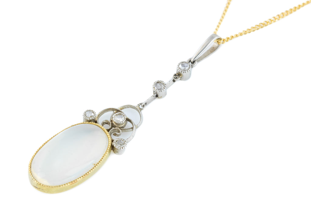 Antique Moonstone and Diamond Drop Pendant (3.67ct)