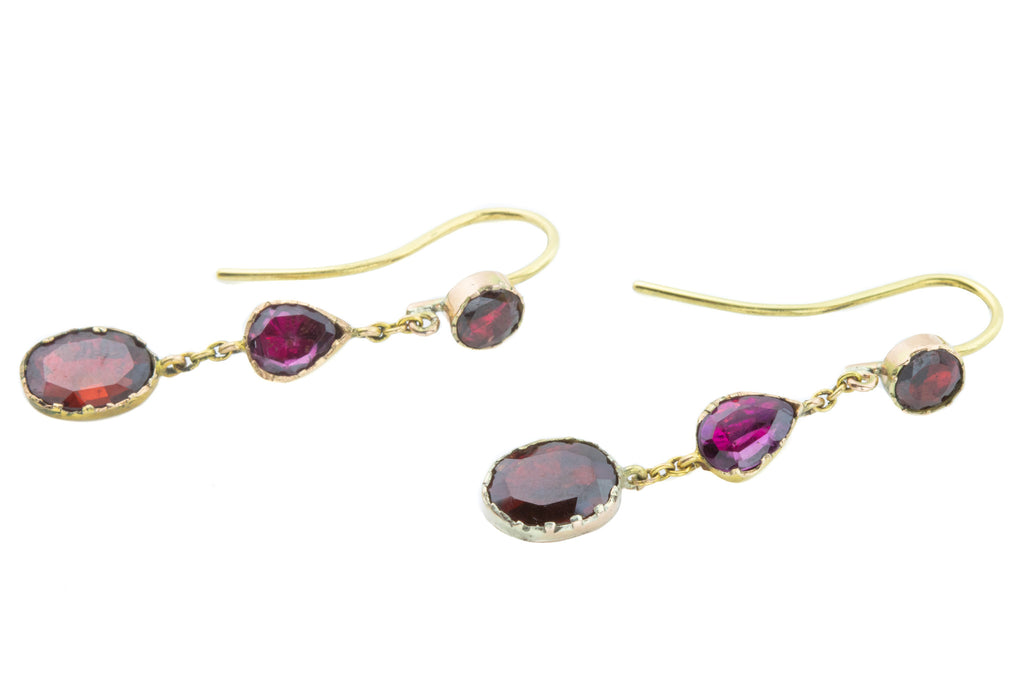 Gold Georgian Garnet Drop Earrings