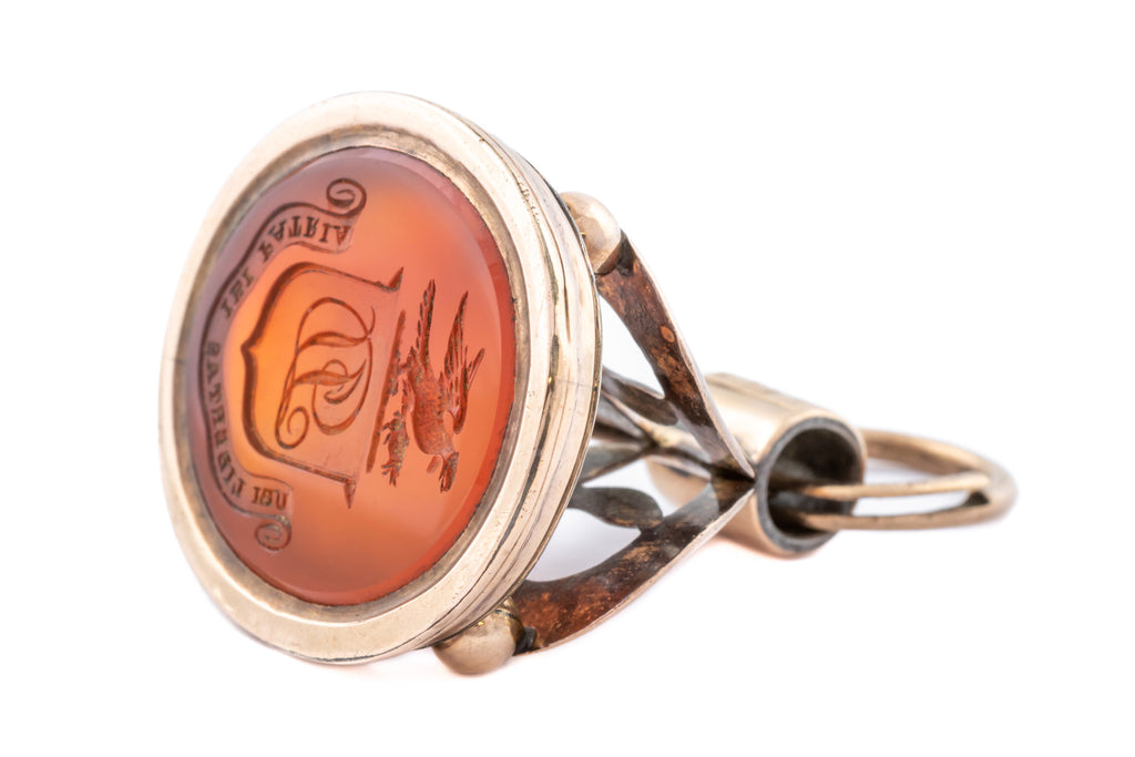 Huge Georgian Gold Fob Seal Pendant with Carnelian Intaglio
