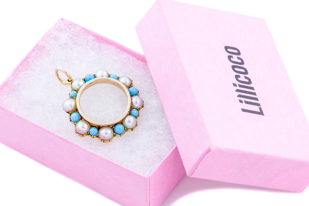 Victorian Pearl and Turquoise Roundel Pendant