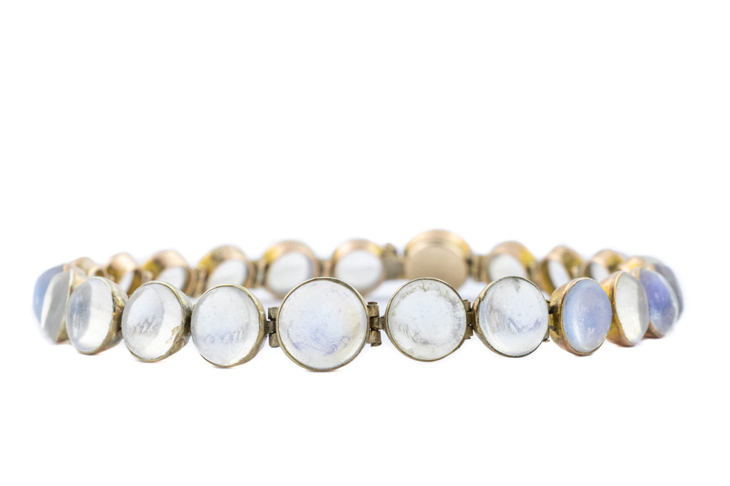RESERVED Edwardian 9ct Gold Gilt Moonstone Bracelet