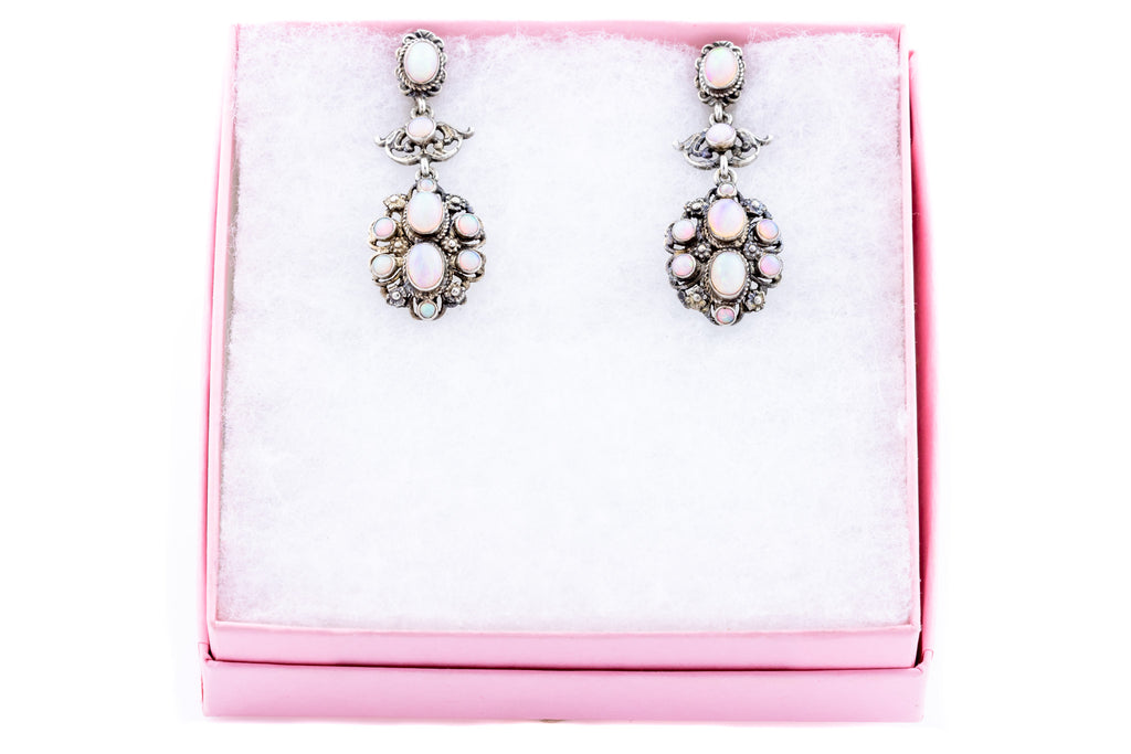 Antique Silver Opal Earrings (2.90ct)