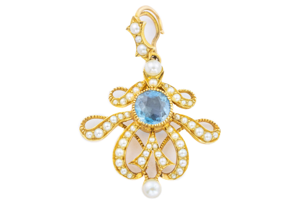 15ct Gold Aquamarine Pearl Pendant - Boxed