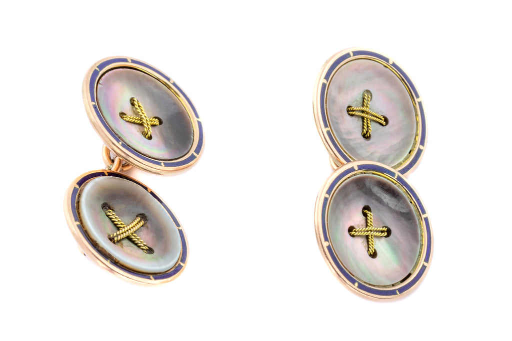 Art Deco Abalone Shell and Enamel Button Cufflinks in 9ct Rose Gold