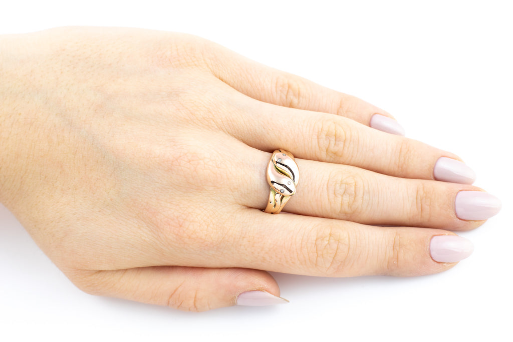 Antique 9ct Gold Snake Ring (0.02ct) c.1898