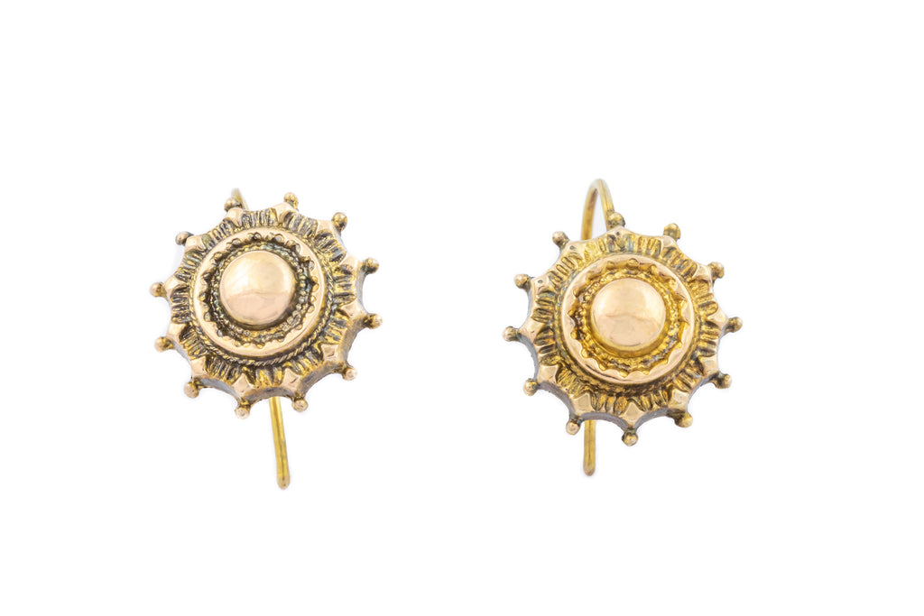 Victorian Etruscan 9ct Gold Earrings c.1880