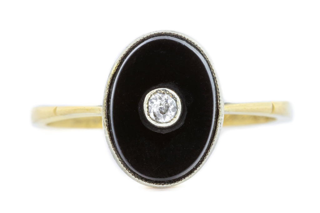 18ct Gold Art Deco Onyx and Diamond Target Ring