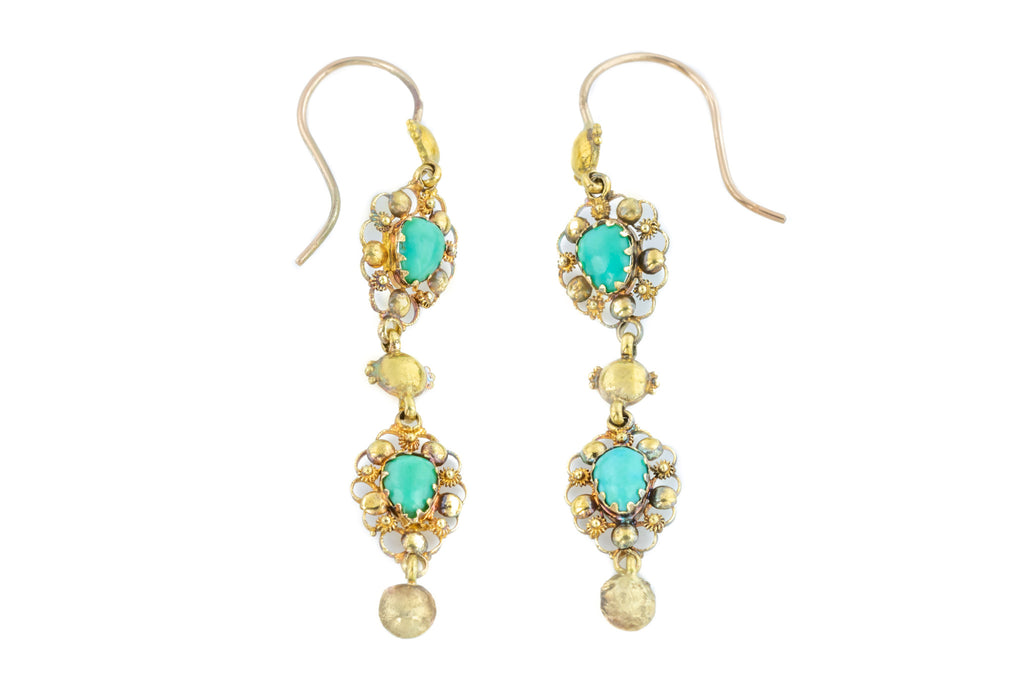 18th Century 18ct Gold Turquoise Cannetille Drop Earrings