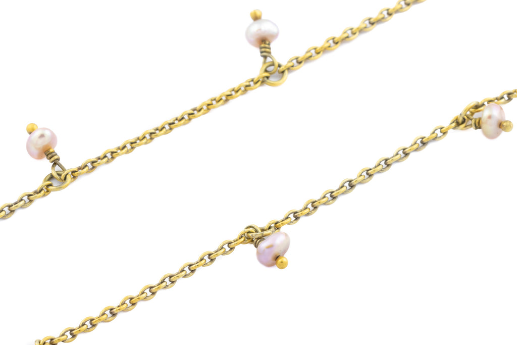 Edwardian 18ct Gold Pearl Chain Necklace, 18""