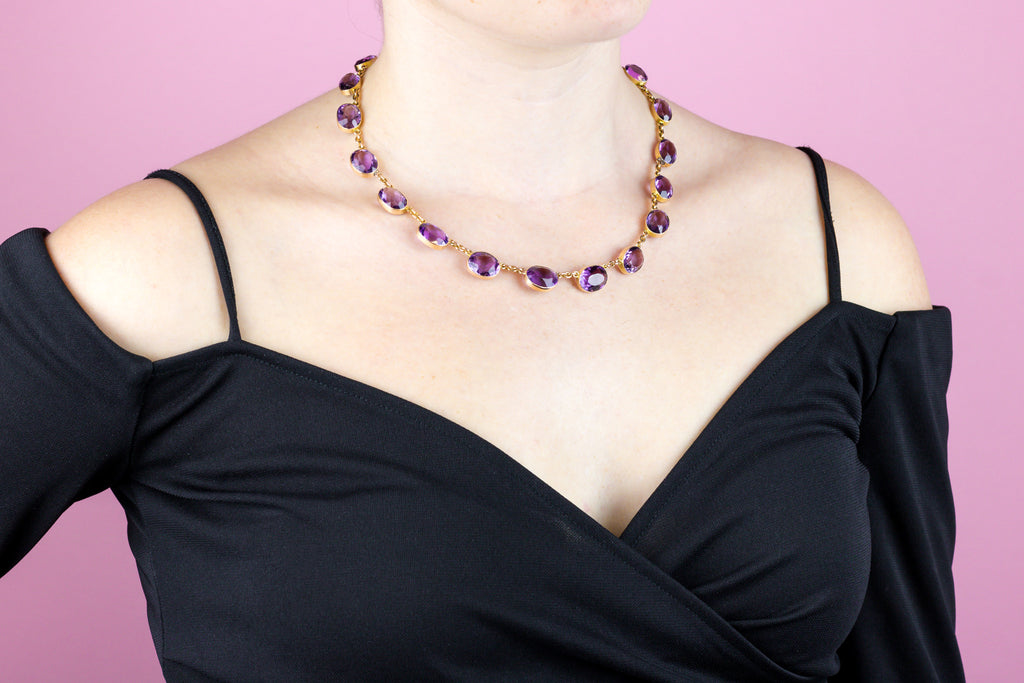 15ct Gold Amethyst Riviere Necklace (68.12ct)
