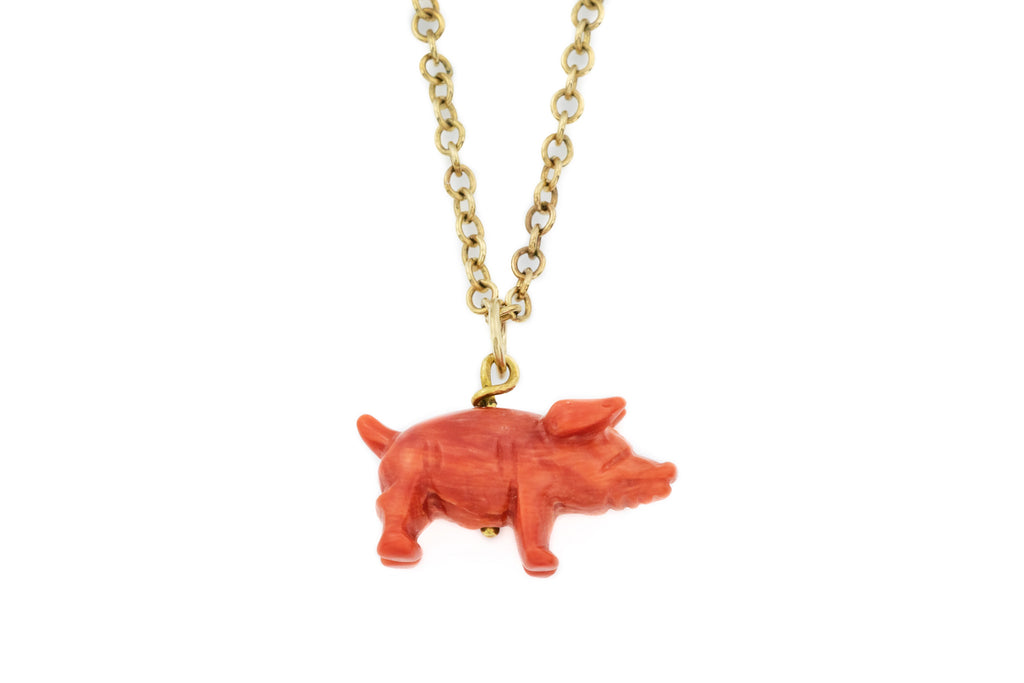 "Georgian Coral Pig Charm Pendant, with 20"" Chain"