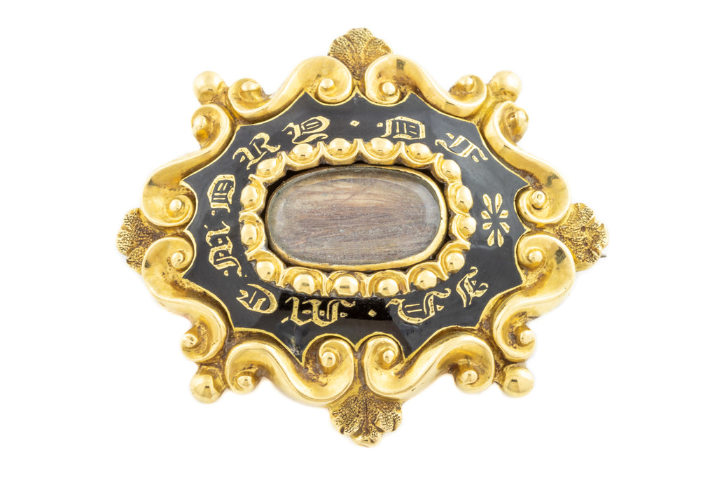 "Victorian Black Enamel Mourning Brooch ""IN MEMORY OF"" C.1873"