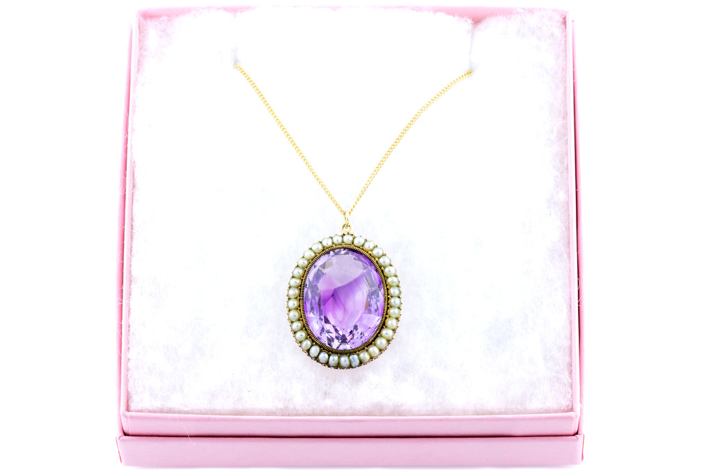 "Reserved - Victorian 9ct Gold Amethyst Pendant (16.24ct), with 18"" Chain"