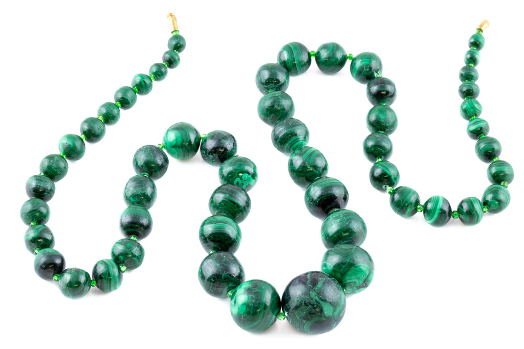 Vintage Malachite Bead Necklace, 31""