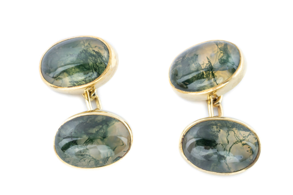 9ct Gold Moss Agate Cufflinks