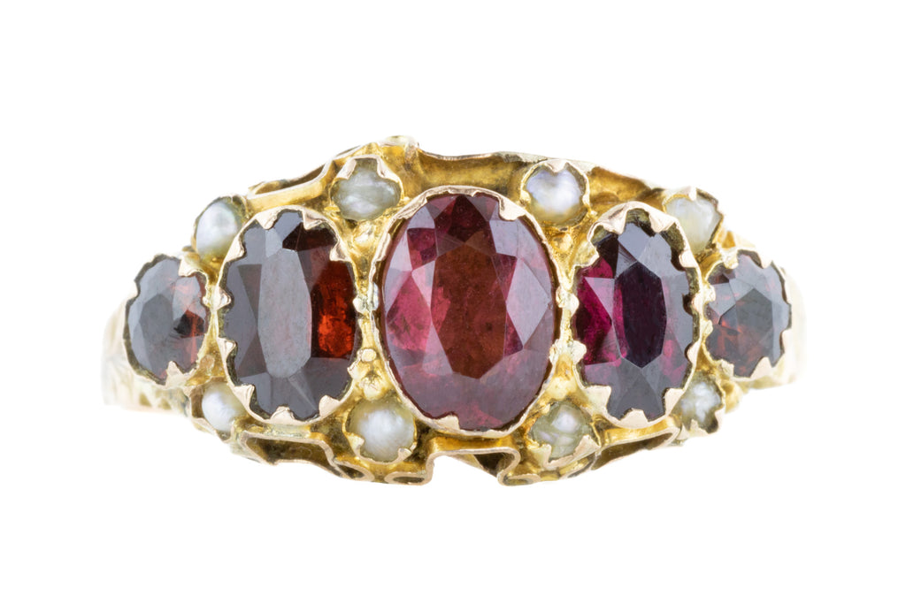 Antique 9ct Gold Five Stone Garnet Ring (1.32ct)