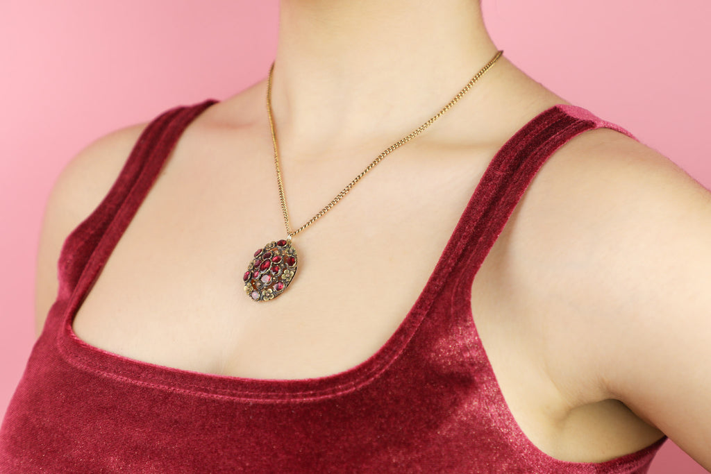 Georgian Gold Garnet Pendant with Floral Details