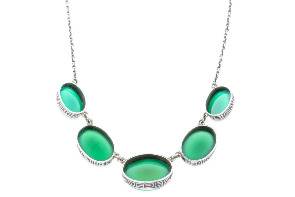 Art Deco Chalcedony Necklace, 16.5""