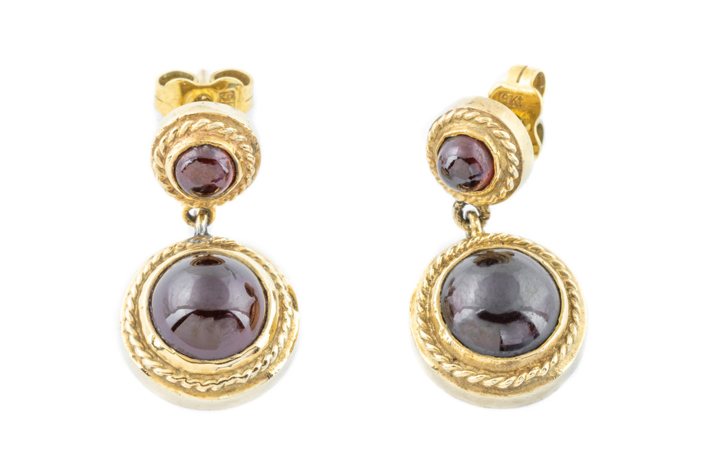 9ct Gold Victorian Style Garnet Drop Earrings