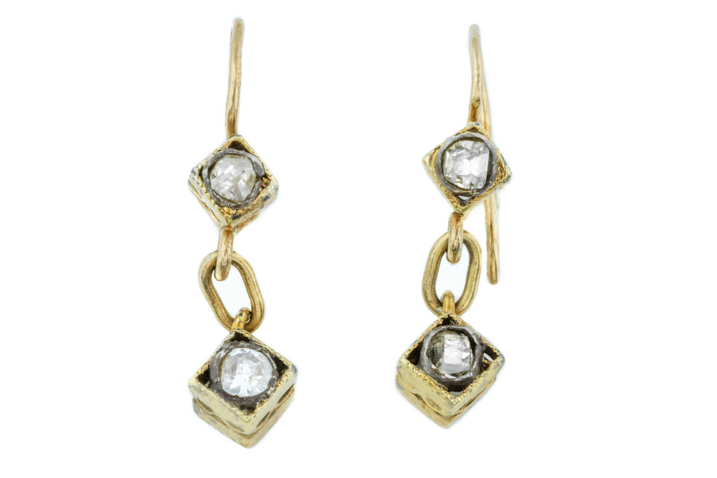 Antique 9ct Gold Diamond Drop Earrings