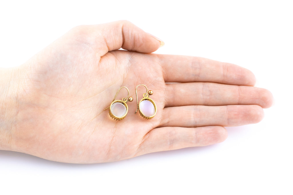 Antique 14ct Gold Moonstone Earrings (10.02ct)