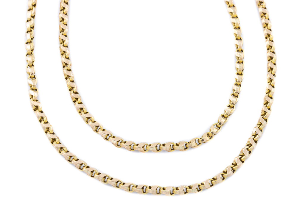 "Antique 9ct Gold ""Cat's Tooth"" Link Chain 66"" - (36.4g)"