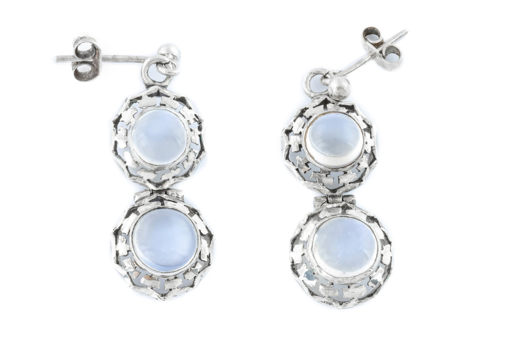 Art Deco Silver Moonstone Earrings