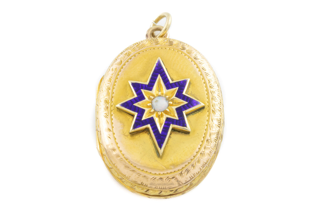 Antique 15ct Gold and Enamel Locket with Opal Centre c.1870