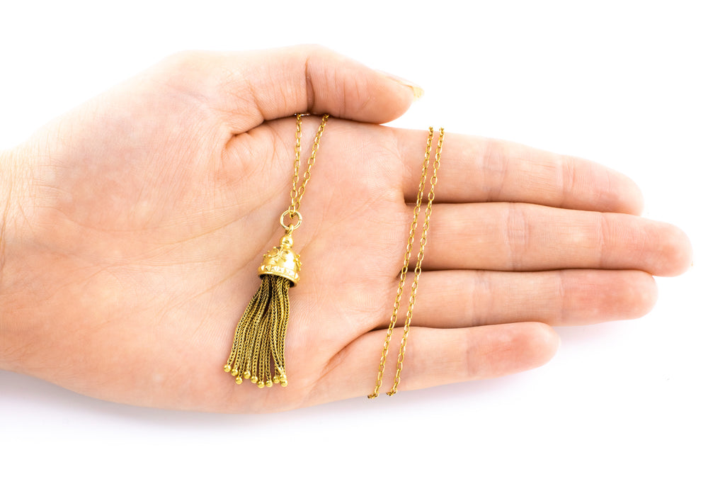 RESERVED Antique 15ct Gold Tassel Charm Pendant (REMOVE CHAIN)