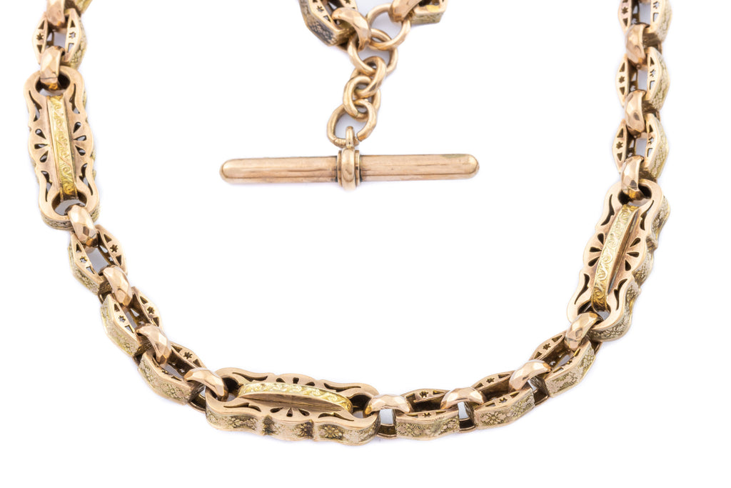 "French Antique 9ct Gold Fancy Albert Chain with T-bar 15"" - 41g"