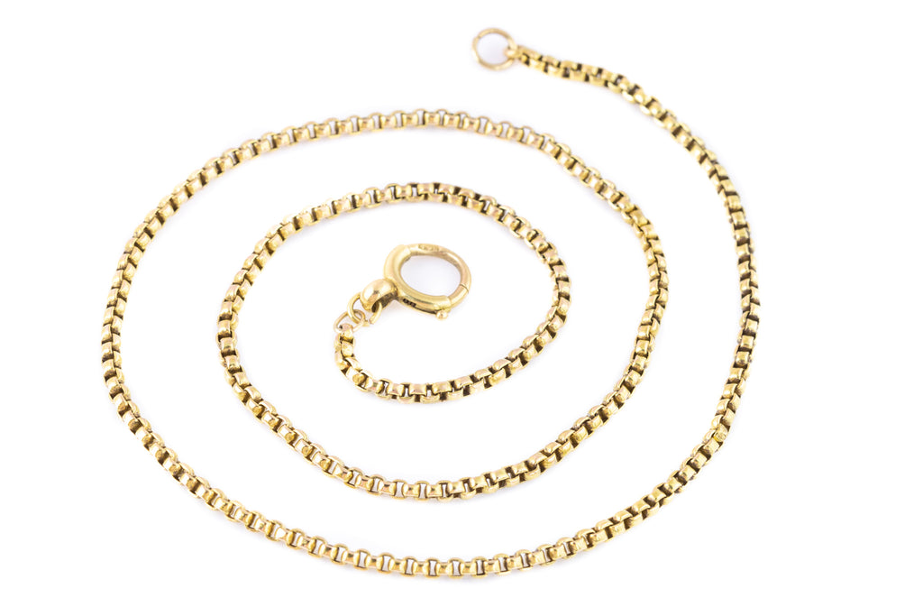 "Antique 15ct Gold Box Chain Necklace, 16.5"" (9g)"