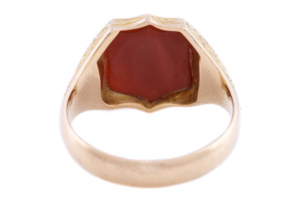 Victorian 15ct Gold Agate Signet Ring c.1899