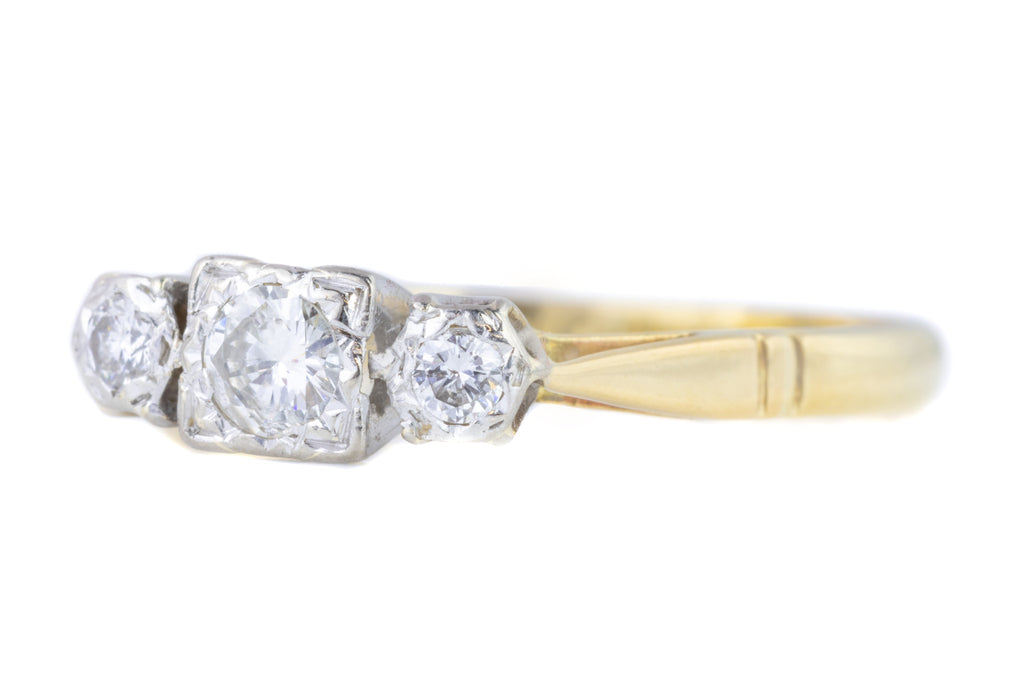Art Deco Diamond Trilogy Ring in 18ct Gold and Platinum (0.17ct)