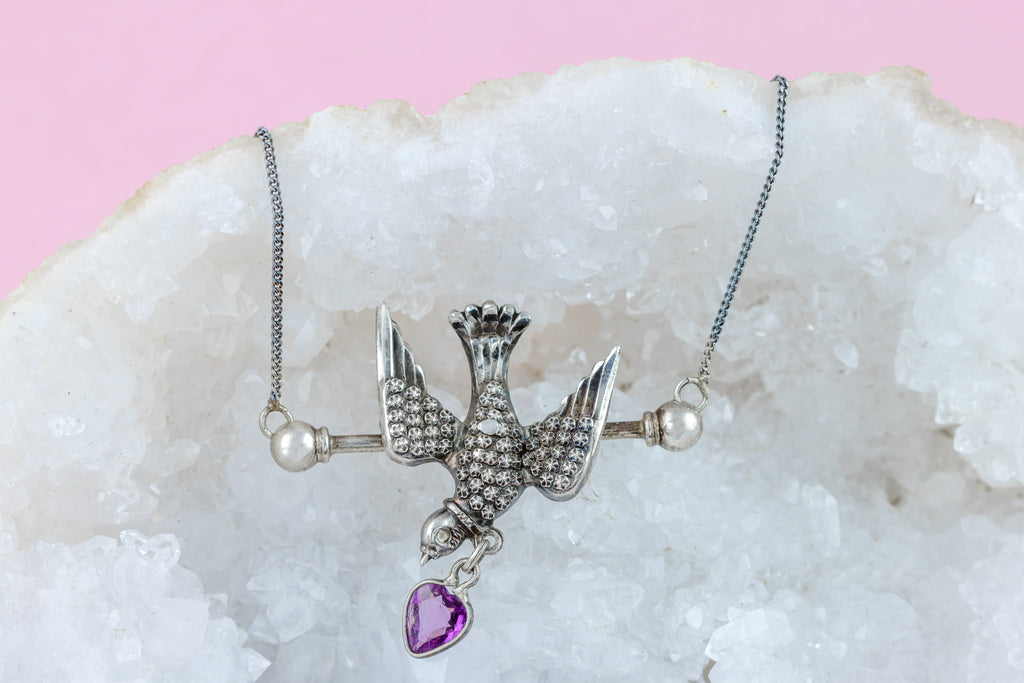 "Edwardian Silver Bird Necklace with Amethyst Paste Heart Drop, 16"" Chain"