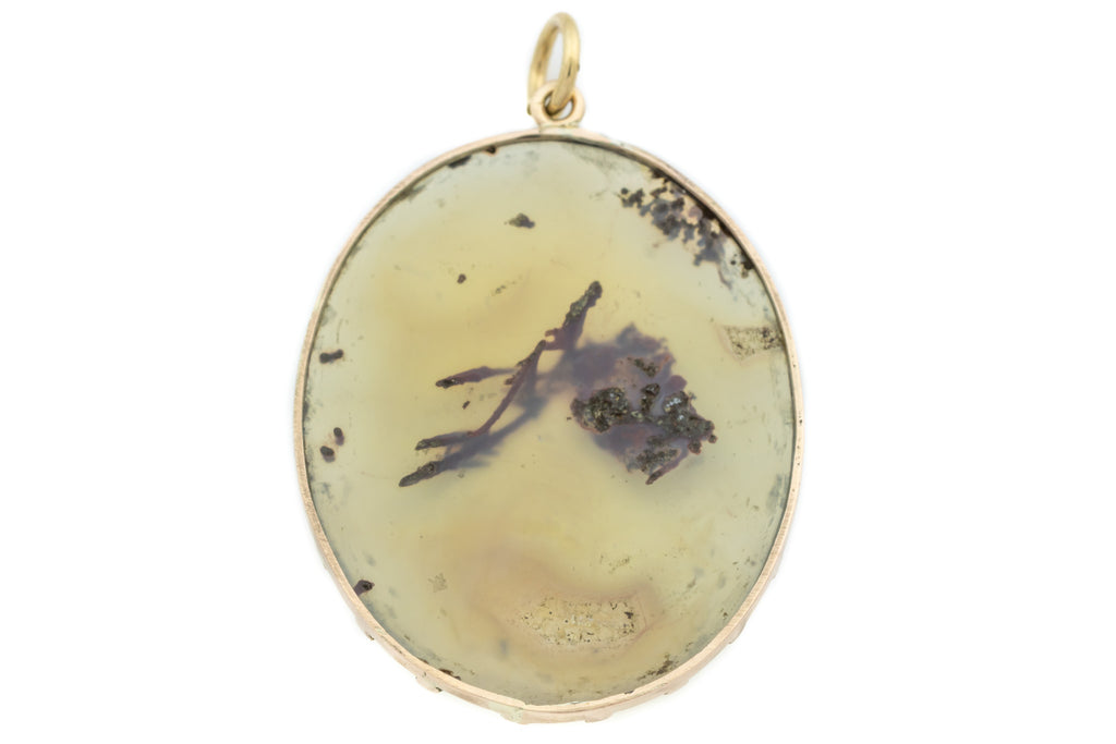 Georgian 9ct Gold Moss Agate Pendant