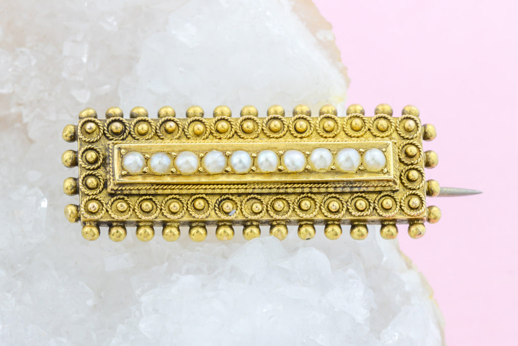 15ct Gold Victorian Pearl Brooch