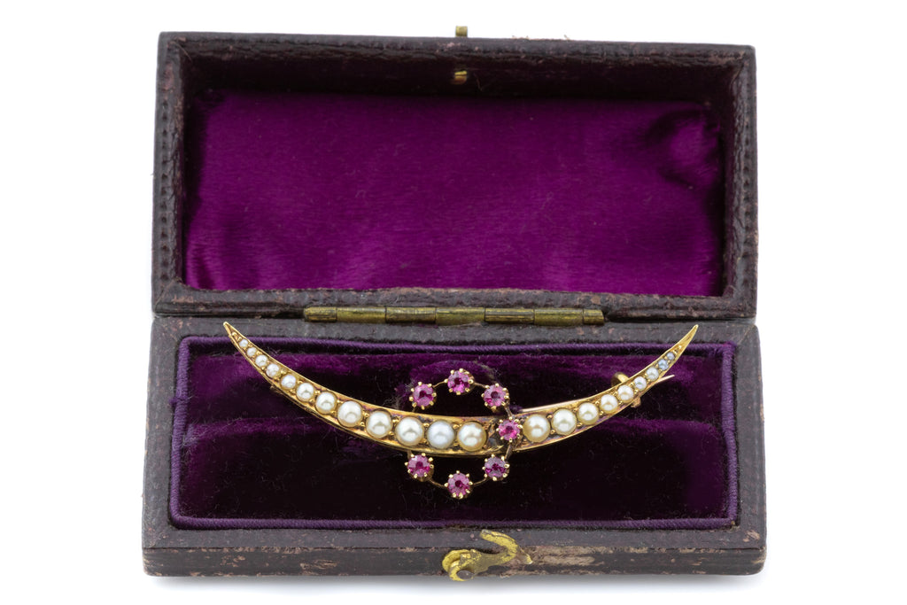 15ct Gold Antique Ruby and Pearl Crescent Moon Brooch with Box