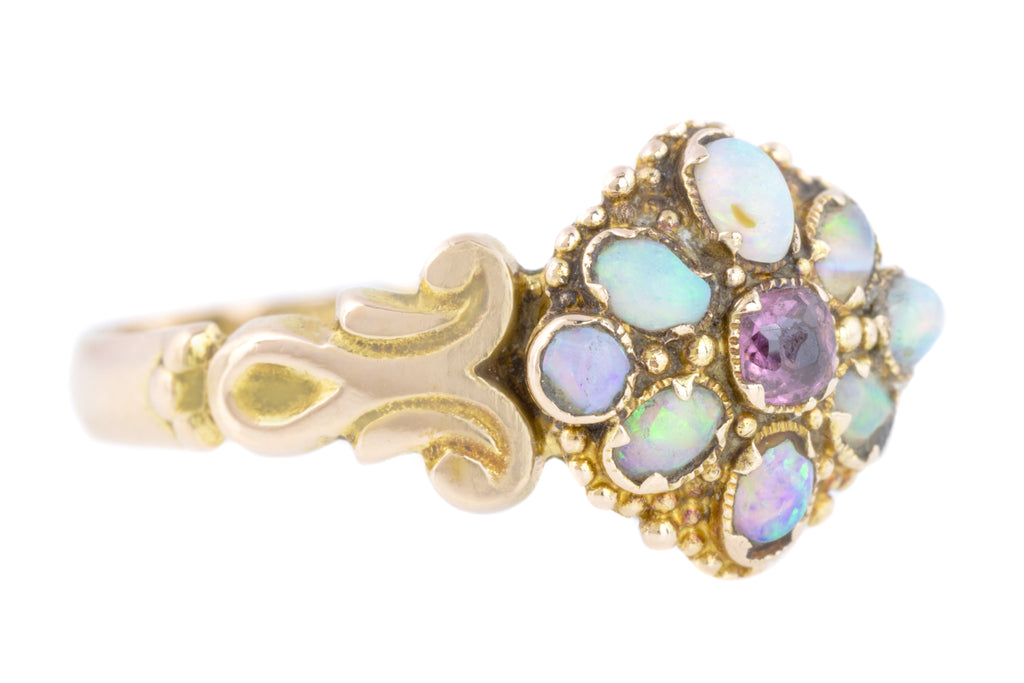 Antique 15ct Gold Opal and Garnet Cluster Ring c.1871