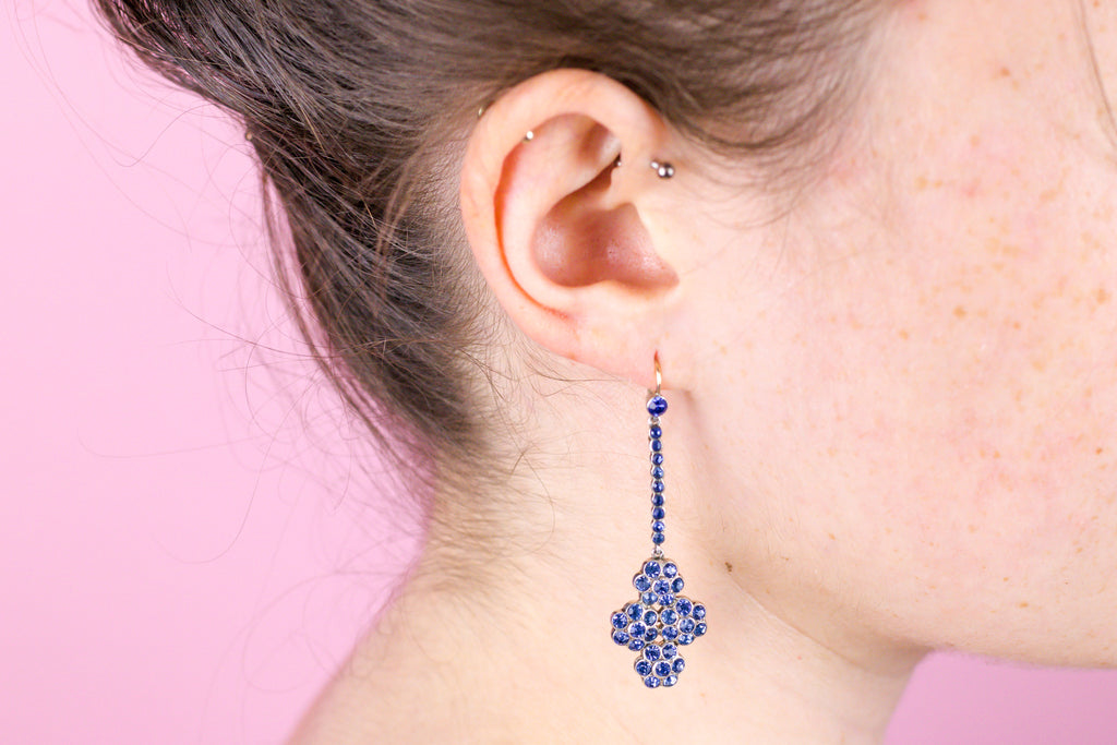 Exquisite Victorian Blue Paste Flower Drop Earrings