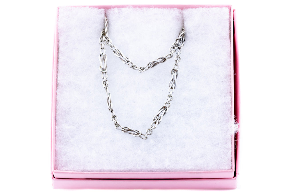 "Antique Silver Lover's Knot Chain Necklace, 56"" (35.1g)"