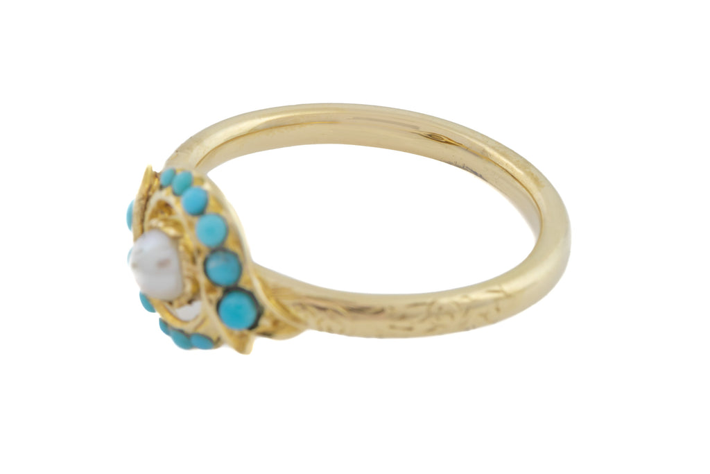 15ct Gold Victorian Turquoise and Pearl Cluster Ring