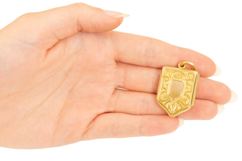 15ct Gold Victorian Shield Locket