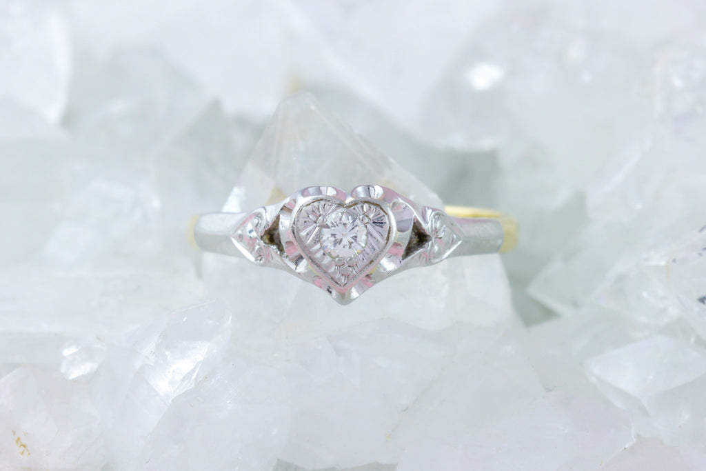 Art Deco Diamond Solitaire Heart Ring