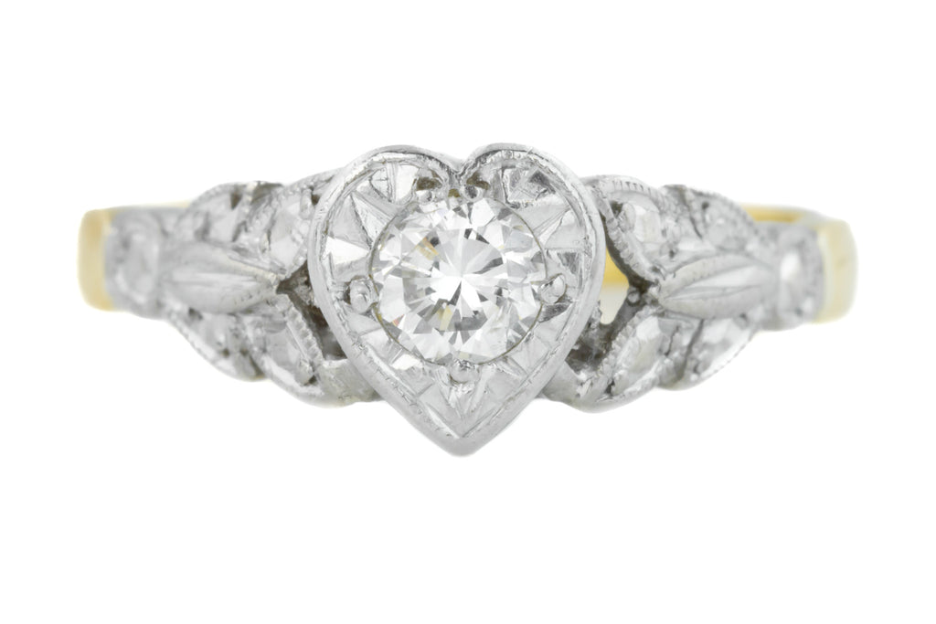 Art Deco Heart Diamond Solitaire Ring (0.15ct)